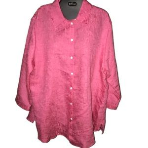 Passion pink sheen plus size top in 18w